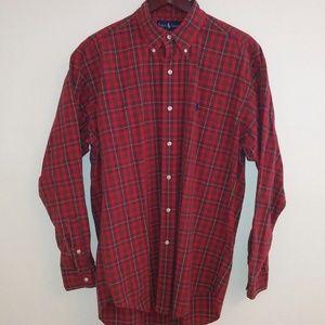 Ralph Lauren Mens M Red Plaid Button Up Shirt
